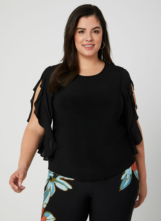Joseph Ribkoff - Ruffle Sleeve Top, Black, hi-res