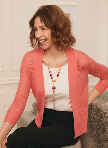 Open Front Pointelle Knit Cardigan, Red,  cardigan, open front, pointelle, knit, 3/4 sleeves
