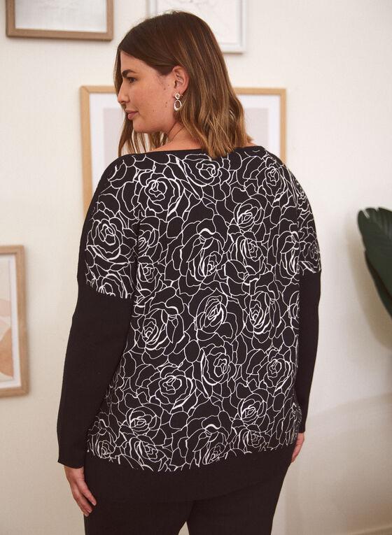 Rose Print Sweater, Black