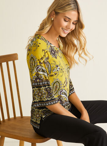 Paisley Print 3/4 Sleeve Top, Green,  top, 3/4 sleeves, scoop neck, paisley, fall winter 2020