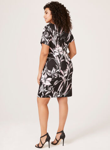 Floral Print Fit & Flare Scuba Dress, Black, hi-res