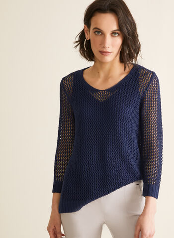 Crochet Sweater With Tank, Blue,  sweater, 3/4 sleeves, rounded v-neck, crochet, high low, jersey, tank, spring summer 2020