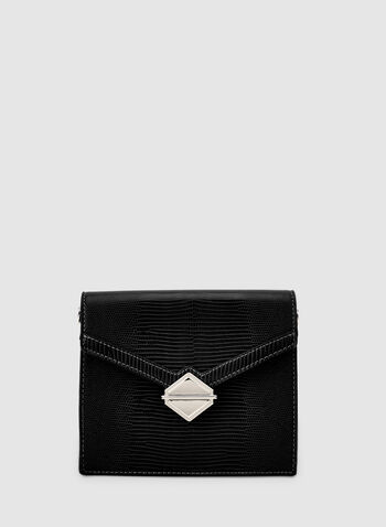 Flapover Handbag, Black,  fauc leather, flapover, chain, metallic, geometric, fall 2019, winter 2019