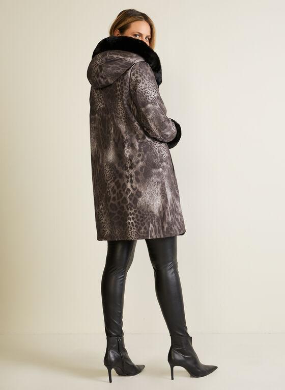 Leopard Print Reversible Coat, Black