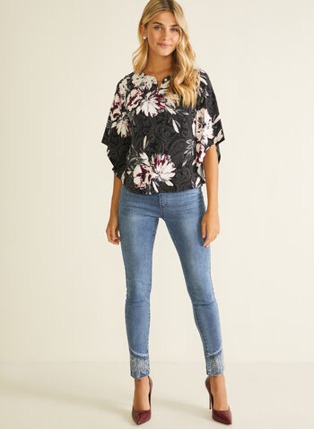 Paisley & Floral Print Top, Black,  top, 3/4 sleeves, slit v-neck, floral, paisley, jersey, fall winter 2020
