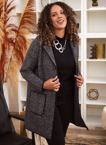 Tartan Print Cardigan Jacket, Grey,  jacket, cardigan, tartan, notched collar, pockets, fall winter 2020