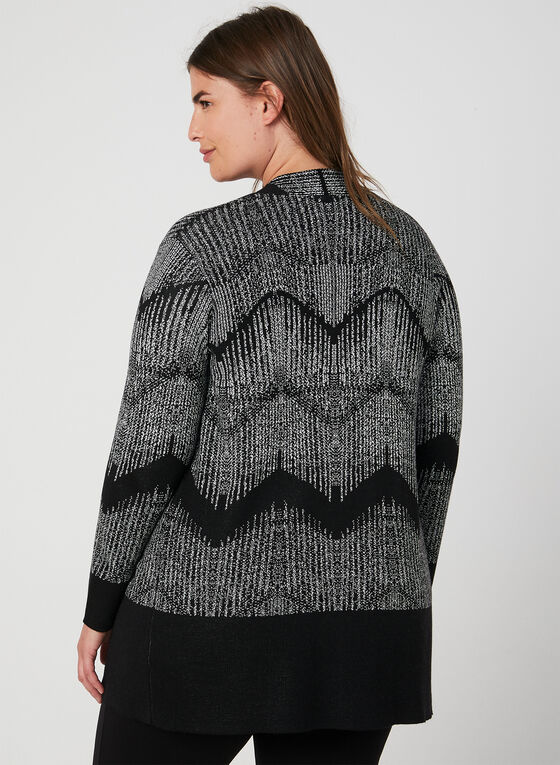Cardigan ouvert à motif zigzag, Noir, hi-res
