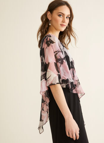 Floral Print Poncho Dress, Black,  spring summer 2020, cold-shoulder poncho, jersey fabric, chiffon, metallic, crystal details, sheath silhouette