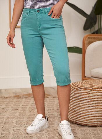 Charlie B - Cuffed Capri Pants, Blue,  spring summer 2021, bottoms, capris, zipper, slim fit, rolled cuffs,