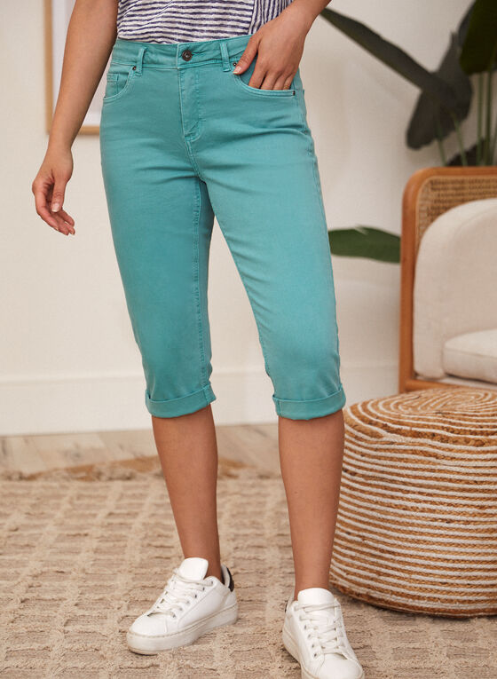 Charlie B - Cuffed Capri Pants, Blue