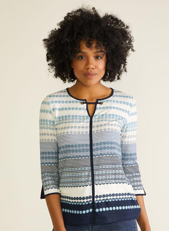 T-shirt à col ajouré et motif géométrique, Bleu