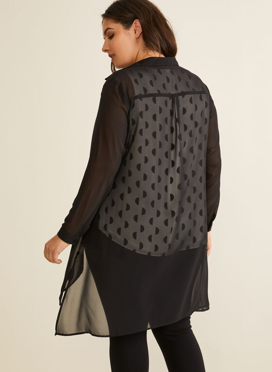 Long Sleeve Sheer Chiffon Blouse , Black
