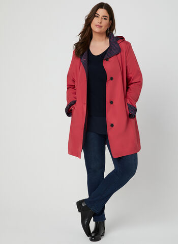 Fennelli - Hooded Raincoat, Red,  Spring 2019, rain coat, Polka Dot, hood