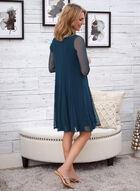 Glitter Detail Dress & Jacket Set, Green