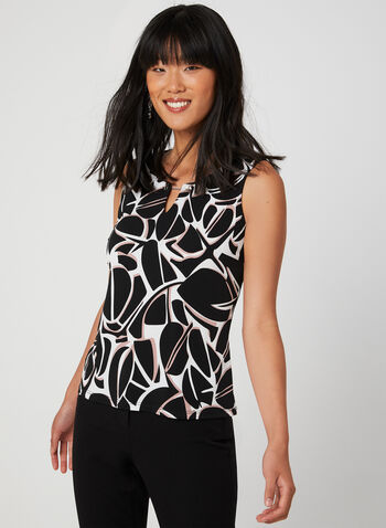 Sleeveless Jersey Top, Black,  top, sleeveless, abstract print, jersey, fall 2019, winter 2019
