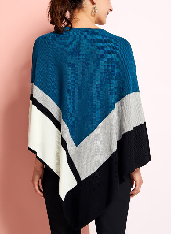 Colour Block V-Hem Knit Poncho, Blue, hi-res