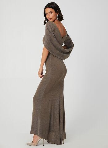 Robe pailletée style cape, Brun, hi-res,  robe de soirée, cape, plissé, automne hiver 2019