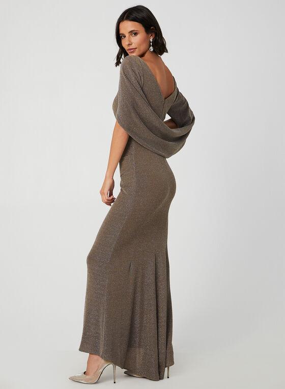 Robe pailletée style cape, Brun, hi-res