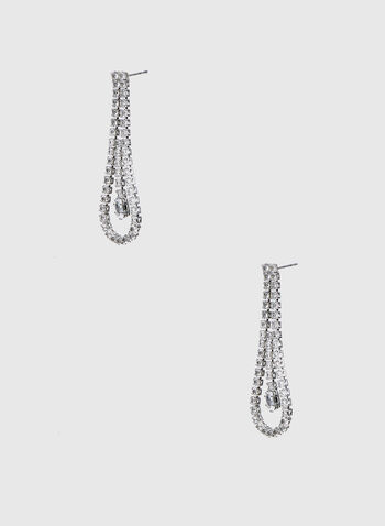 Crystal Loop Dangle Earrings , Silver,  earrings, crystals, crystal earrings, loop earrings, dangle earrings, holiday, fall 2019, winter 2019