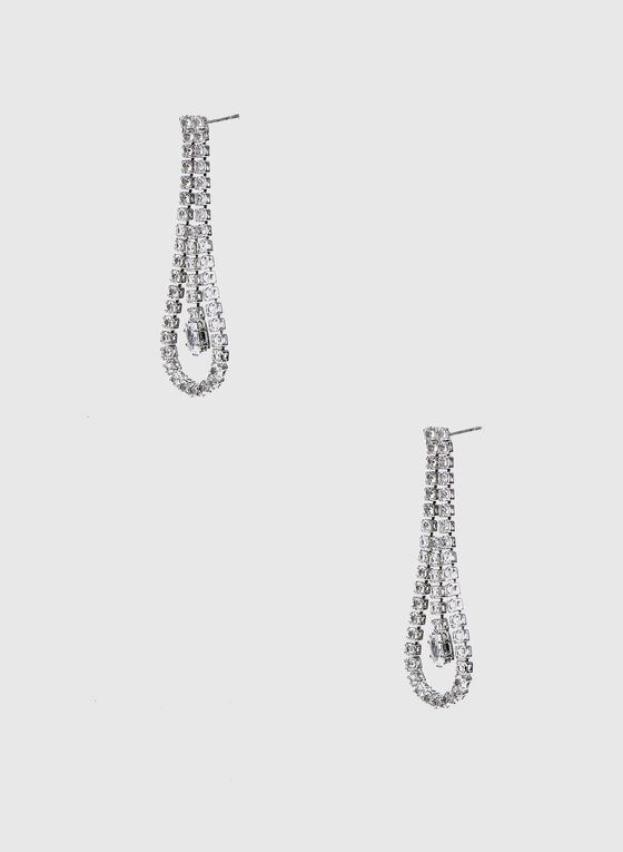 Crystal Loop Dangle Earrings , Silver