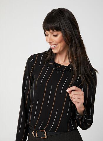 Stripe Print Blouse, Black, hi-res,  fall winter 2019, crepe blouse, long sleeves