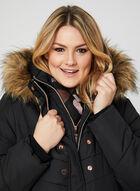 Hooded Quilted Coat, Black, hi-res