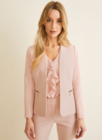 Zipper Detail Collarless Jacket , Pink,  jacket, collarless, zipper detail, shoulder pad, long sleeves, spring 2020