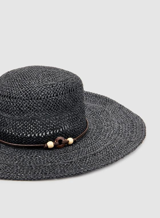 Wide Brim Straw Hat, Black, hi-res