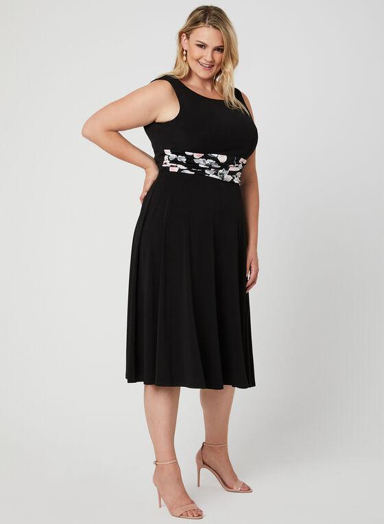 Floral Print Dress & Jacket Set, Black
