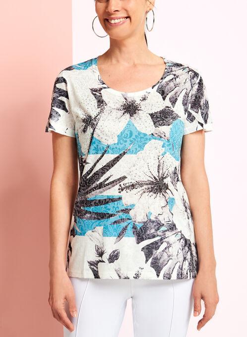 T-shirt à col V et fleurs, Bleu, hi-res
