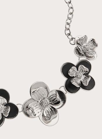 Collier chaîne à fleurs multiples, Noir, hi-res