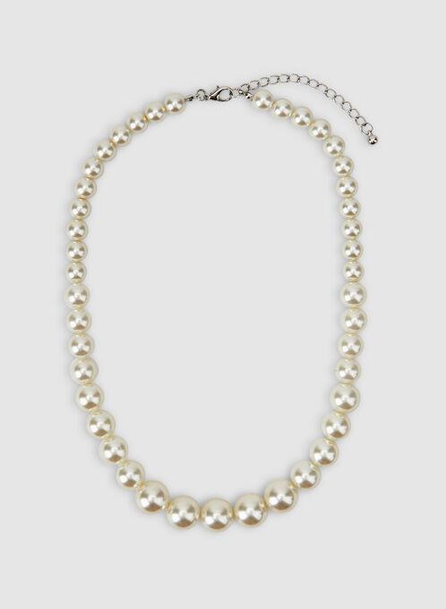 Collier court en perles, Blanc cassé, hi-res