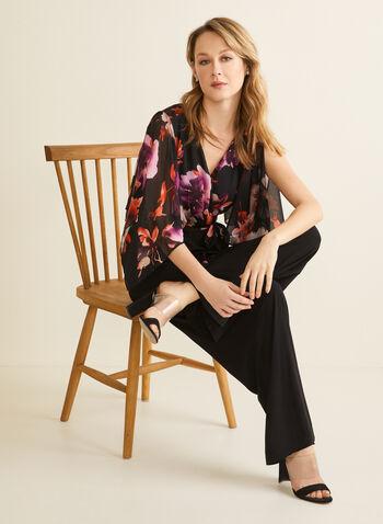 Flower Print Jumpsuit , Black,  spring 2020, jumpsuit, chiffon, floral print, jersey, wide legs, floral motif