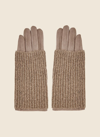 Faux Suede Gloves, Brown,  gloves, faux suede, knit, fall winter 2020