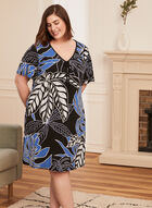 Chemise de nuit avec col en V à cordon  , Bleu