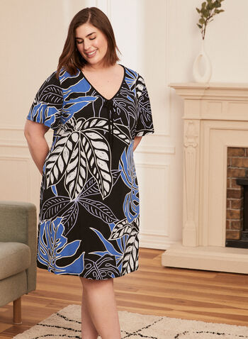 Printed Tie Neck Nightgown, Blue,  nightgown, sleepwear, pyjamas, stripe print, leaf print, v-neck, short sleeves, spring summer 2021