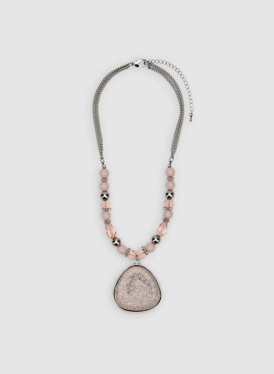 Double Chain Pendant Necklace, Pink, hi-res