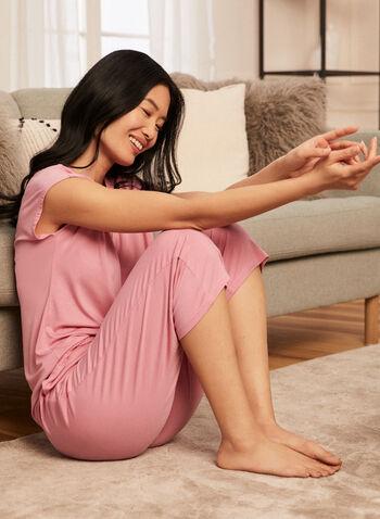 Pantalon de pyjama écourté à poches, Rose,  pyjama, pantalon, bas, élastique, extensible, à enfiler, pull-on, jambe large, écourté, poches, printemps été 2021