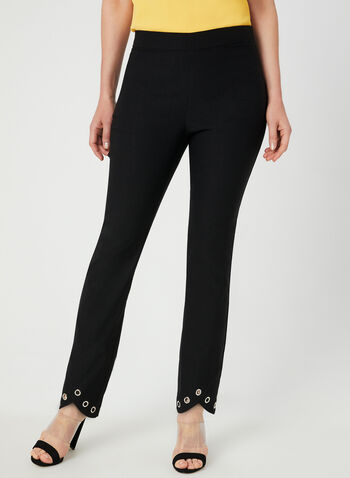 City Fit Slim Leg Pants, Black, hi-res,  pull-on, stretchy, asymmetric, metallic, fall 2019, winter 2019