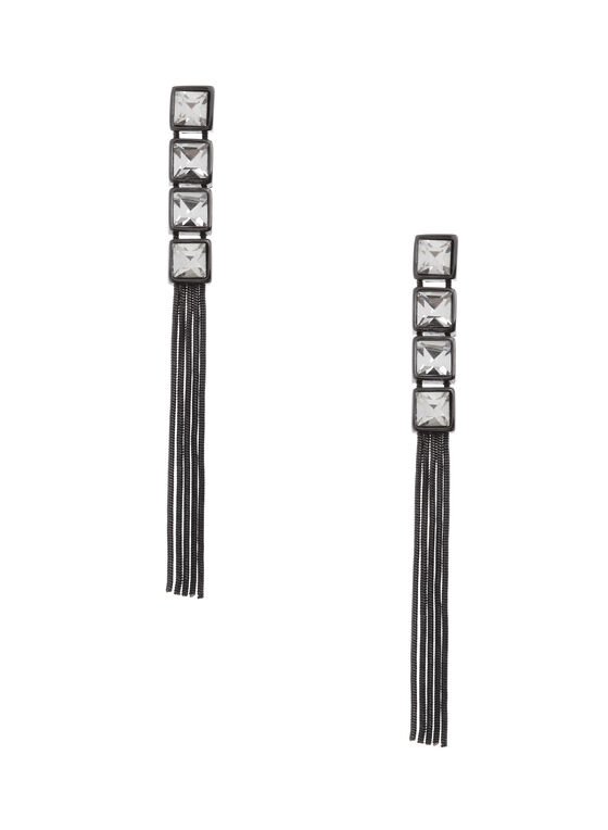 Crystal & Tassel Dangle Earrings, Black, hi-res