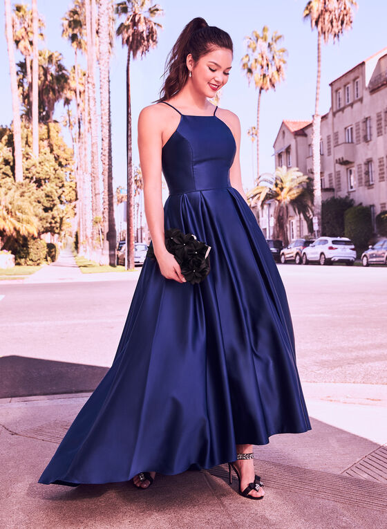 Fit & Flare Satin Ball Gown, Blue