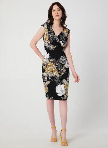Floral Print Empire Waist Dress, Black, hi-res,  fall 2019, winter 2019, empire waist, floral print, short sleeves, jersey, wrap dress