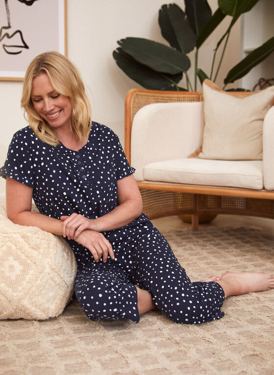 Polka Dot Pyjama Set, Blue