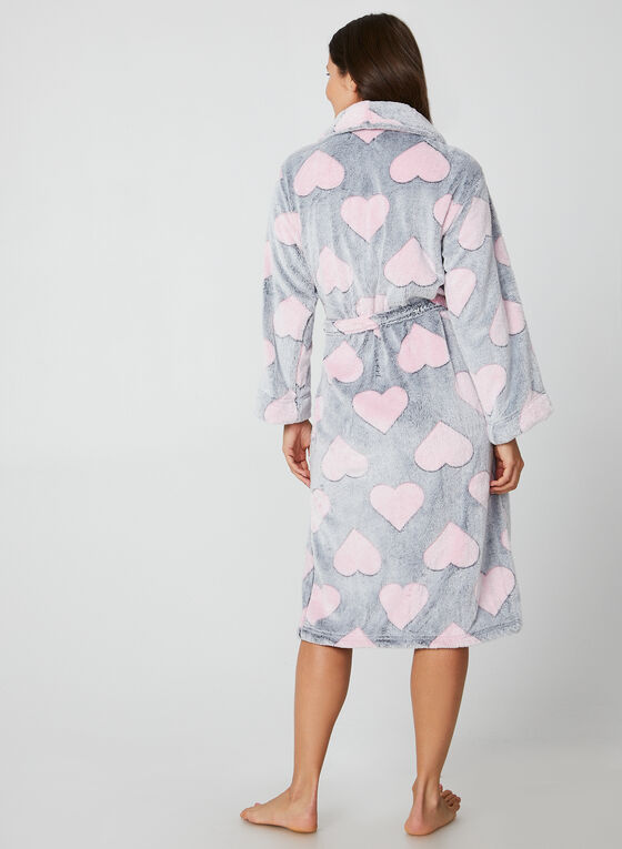 Hamilton - Heart Print Robe, Grey