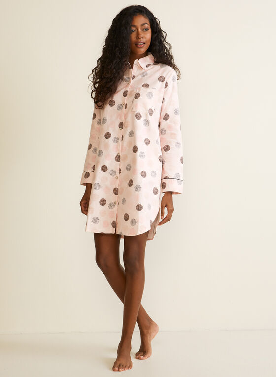Polka Dot Print Flannel Nightshirt, Multi