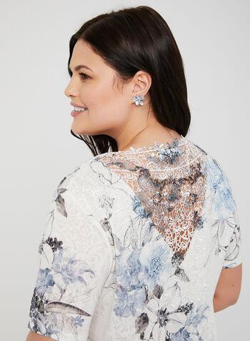 Floral Print Lace Back T-Shirt, Blue, hi-res