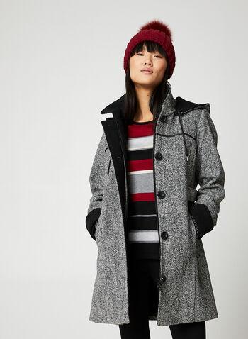Portrait - Tweed Coat, Black,  Portrait, coat, tweed, wool blend, faux leather detailing, removable hood, fall 2019, winter 2019