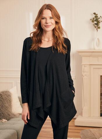 Haut par-dessus en tricot , Noir,  haut, par-dessus, tricot, chandail, manches longues, poches, printemps été 2021