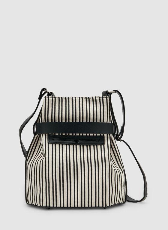 Stripe Print Crossbody Bag, Black, hi-res