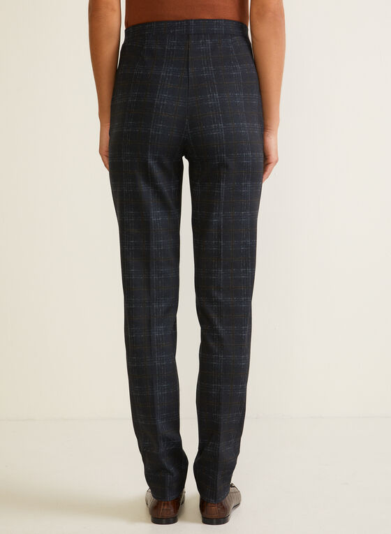 Tartan Print Pull-On Pants, Blue